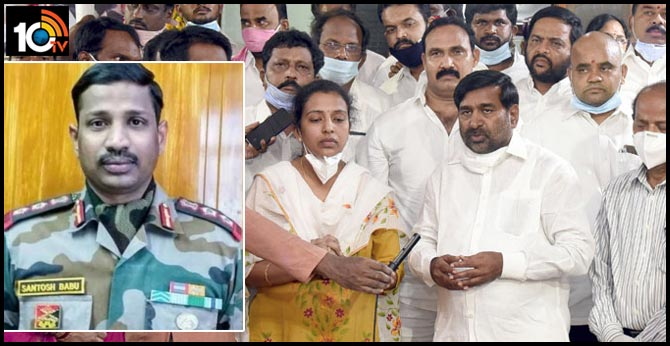 CM KCR promised to support our family says Colonel Santosh Babu's wife santoshi